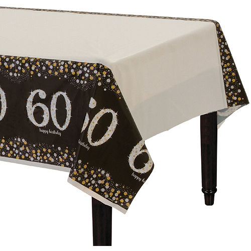 60th Birthday Table Cover - Sparkling Celebration Image #1