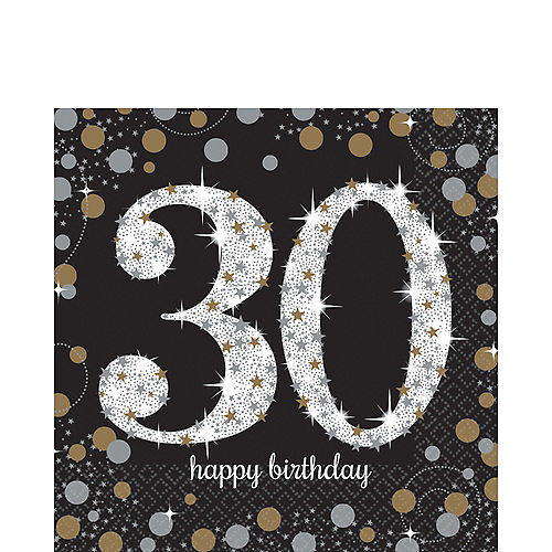 30th Birthday Lunch Napkins 16ct - Sparkling Celebration Image #1