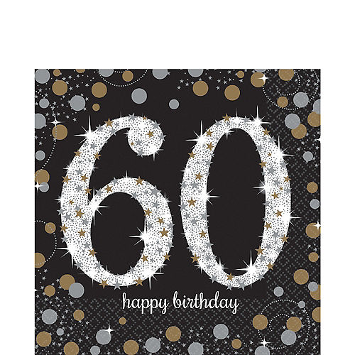 60th Birthday Lunch Napkins 16ct - Sparkling Celebration Image #1