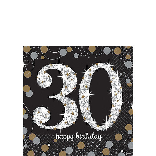 30th Birthday Beverage Napkins 16ct - Sparkling Celebration Image #1