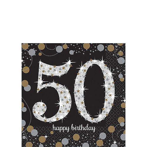 50th Birthday Beverage Napkins 16ct - Sparkling Celebration Image #1