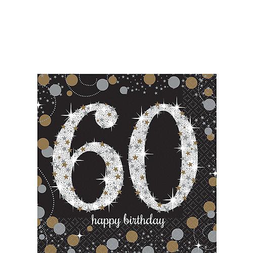 60th Birthday Beverage Napkins 16ct - Sparkling Celebration Image #1