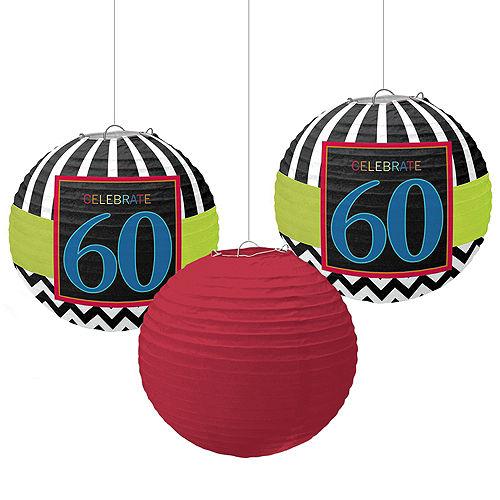 Celebrate 60th Birthday Paper Lanterns 3ct Image #1