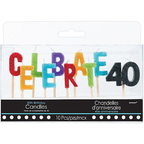 Glitter Celebrate 40 Birthday Toothpick Candle Set 10pc Image #1