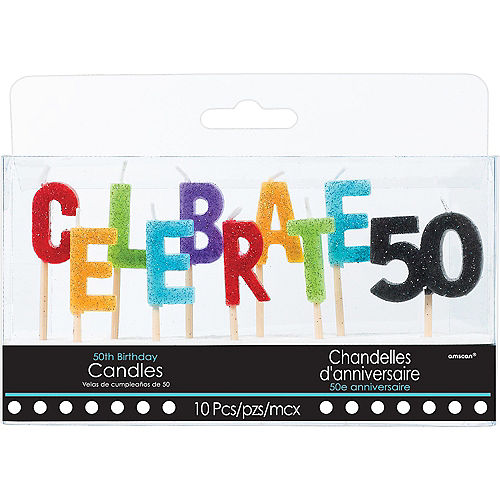 Glitter Celebrate 50 Birthday Toothpick Candle Set 10pc Image #1