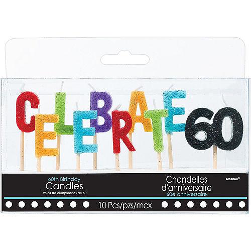 Glitter Celebrate 60 Birthday Toothpick Candle Set 10pc Image #1