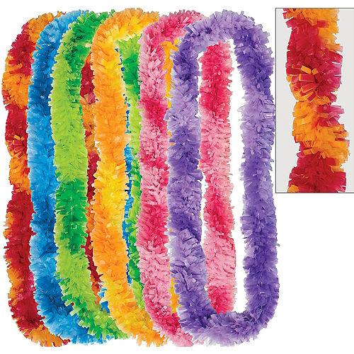 Colorful Two-Tone Fringe Leis 6ct Image #1