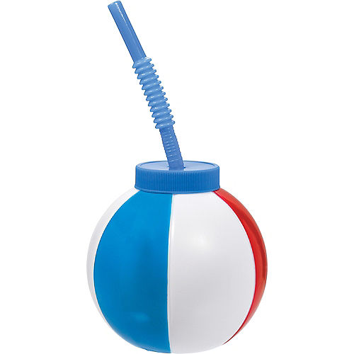 Beach Ball Cup with Straw Image #1