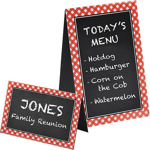 Picnic Party Red Gingham Chalkboard Tent Cards 8ct Image #1
