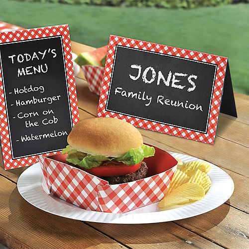 Picnic Party Red Gingham Chalkboard Tent Cards 8ct Image #2