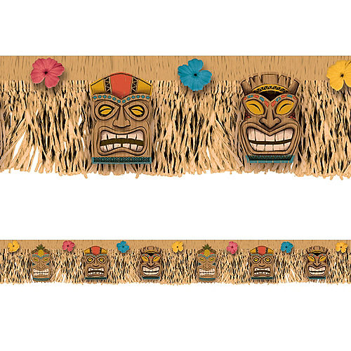 Vintage Tiki & Hibiscus Plastic Grass Fringe Banner, 5.8ft Image #1