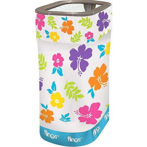White Hibiscus Pop-Up Trash Bin Image #1