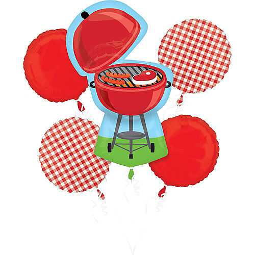 BBQ Red Gingham Balloon Bouquet 5pc Image #1