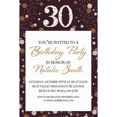 Custom Sparkling Celebration 30 Invitation Image #1
