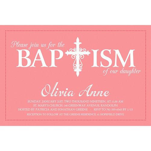 Custom Fancy Baptism Cross Peach Invitation Image #1