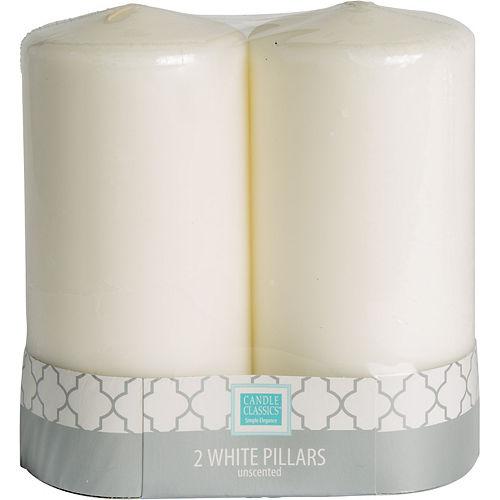 Large White Pillar Candles 2ct Image #2