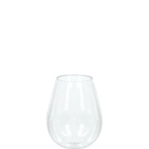 Mini CLEAR Plastic Stemless Wine Glasses 10ct Image #1
