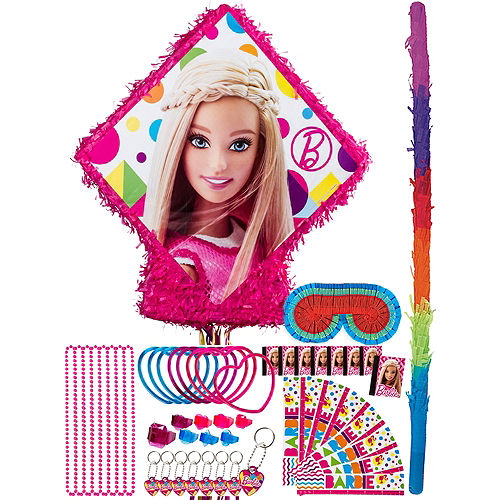 Pull String Sparkle Barbie Pinata Kit with Favors Image #1