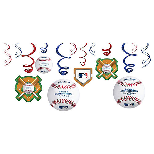 MLB Baseball Swirl Decorations, 12ct Image #1