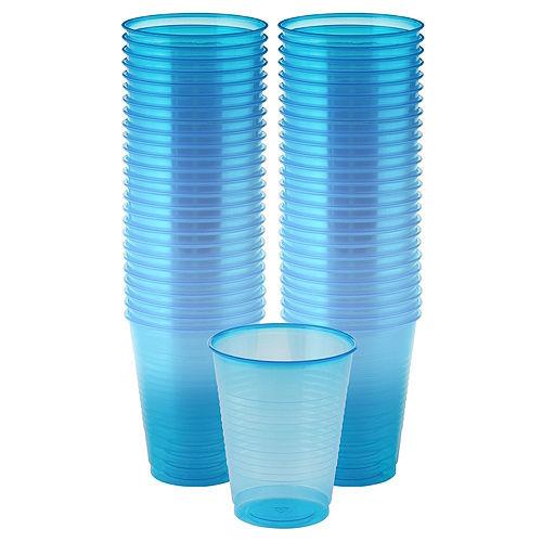 Big Party Pack Black Light Neon Blue Plastic Cups 50ct Image #1