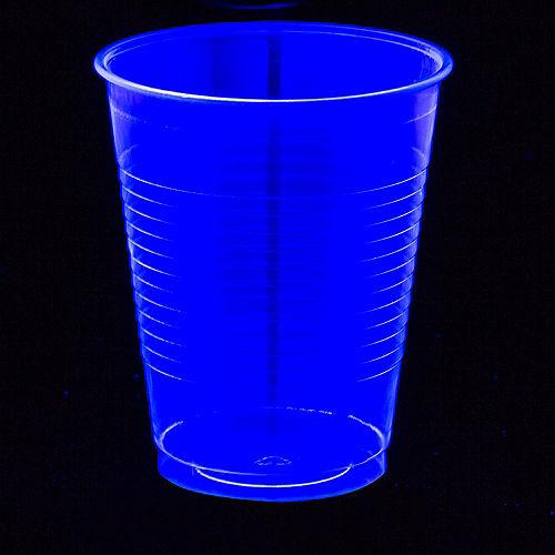 Big Party Pack Black Light Neon Blue Plastic Cups 50ct Image #2