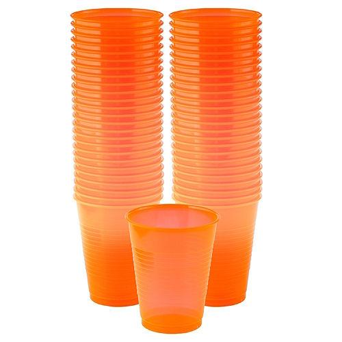 Big Party Pack Black Light Neon Orange Plastic Cups 50ct Image #1