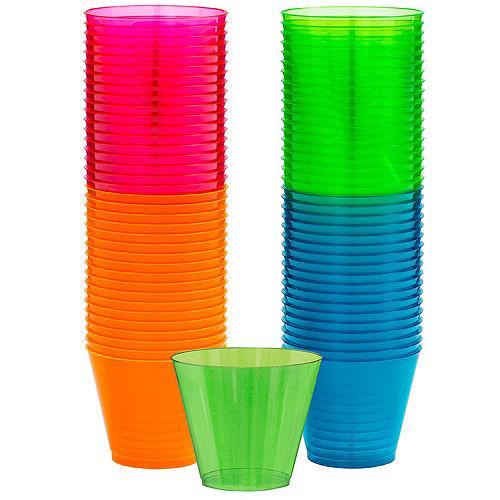 Big Party Pack Black Light Neon Plastic Tumblers 72ct Image #1