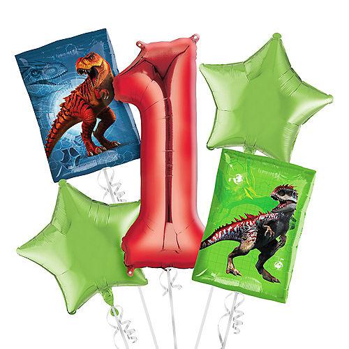 Prehistoric Dinosaurs 1st Birthday Balloon Bouquet 5pc Image #1