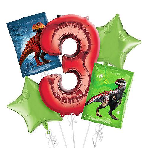 Prehistoric Dinosaurs 3rd Birthday Balloon Bouquet 5pc Image #1