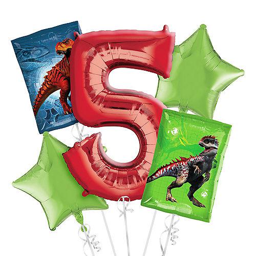 Prehistoric Dinosaurs 5th Birthday Balloon Bouquet 5pc Image #1