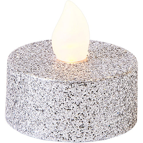 Glitter Silver Tealight Flameless LED Candles 10ct Image #2
