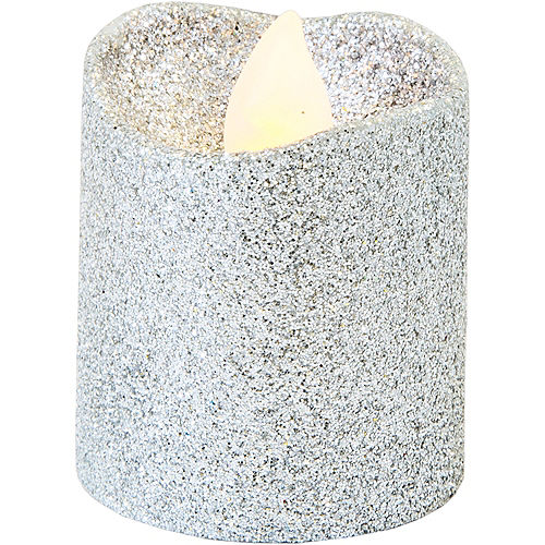 Glitter Silver Votive Flameless LED Candles 6ct Image #2