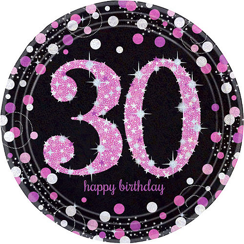 Prismatic 30th Birthday Lunch Plates 8ct - Pink Sparkling Celebration Image #1
