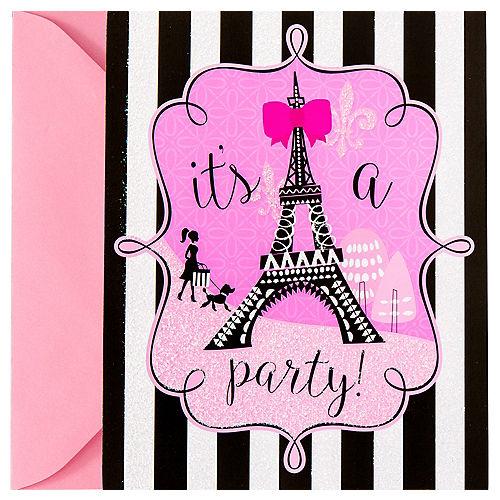 Glitter Paris Invitations 8ct Image #1