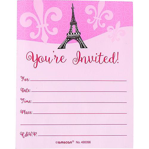 Glitter Paris Invitations 8ct Image #2