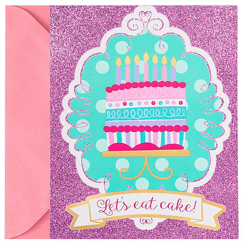 Glitter Pink & Teal Cake Invitations 8ct Image #1