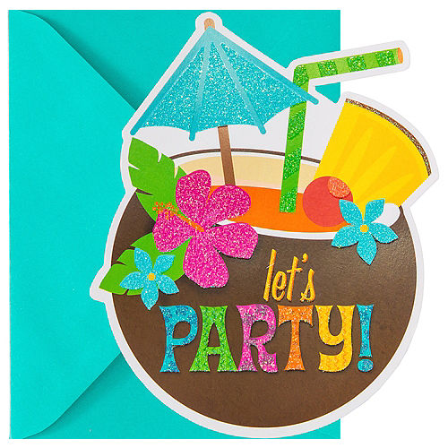 Glitter Coconut Cup Luau Invitations 8ct Image #1