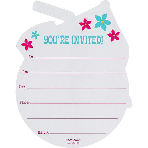 Glitter Coconut Cup Luau Invitations 8ct Image #2