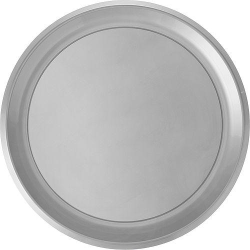 Silver Plastic Round Platter Image #1