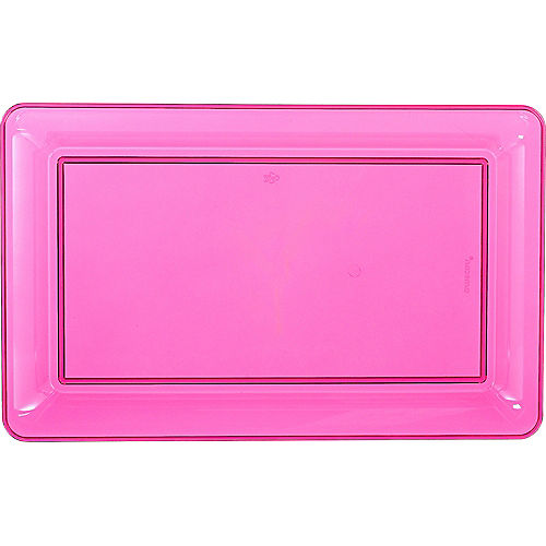 Bright Pink Plastic Rectangular Platter Image #1