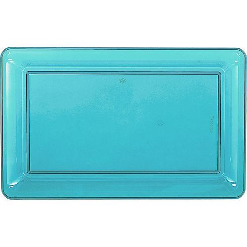 Caribbean Blue Plastic Rectangular Platter Image #1