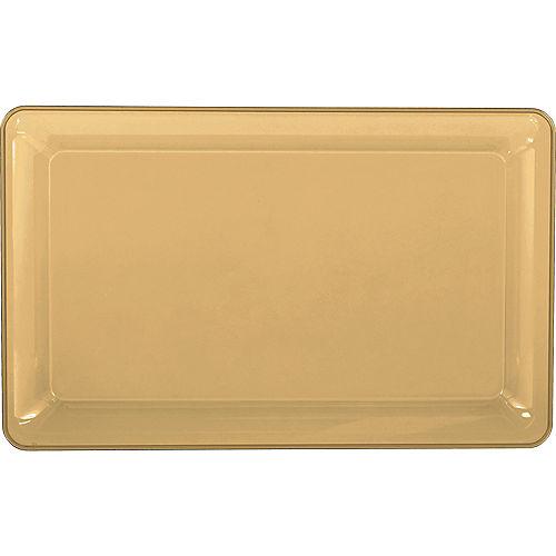 Gold Plastic Rectangular Platter Image #1