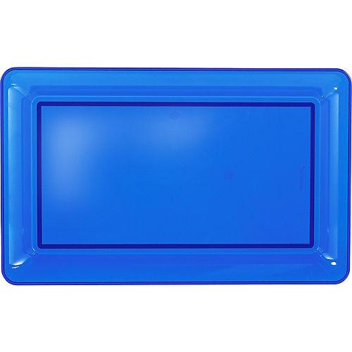 Royal Blue Plastic Rectangular Platter Image #1