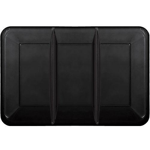 Black Rectangular Sectional Plastic Platter, 9.5in x 14in Image #1