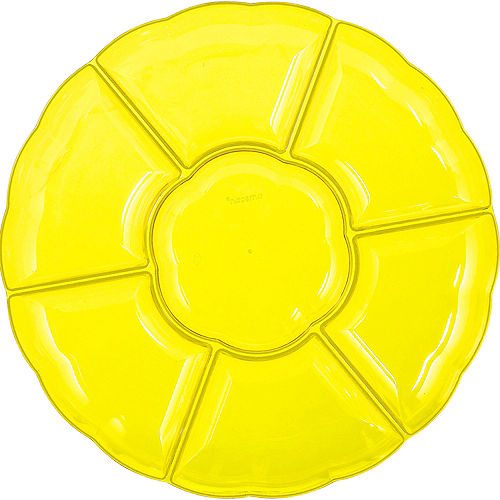 Yellow Plastic Scalloped Sectional Platter Image #1