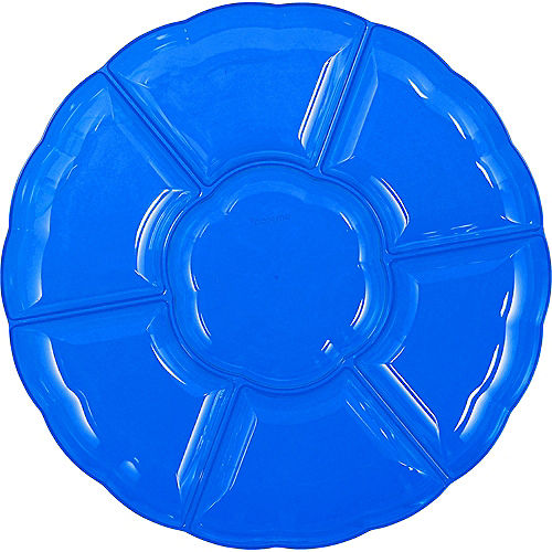 Royal Blue Plastic Scalloped Sectional Platter Image #1