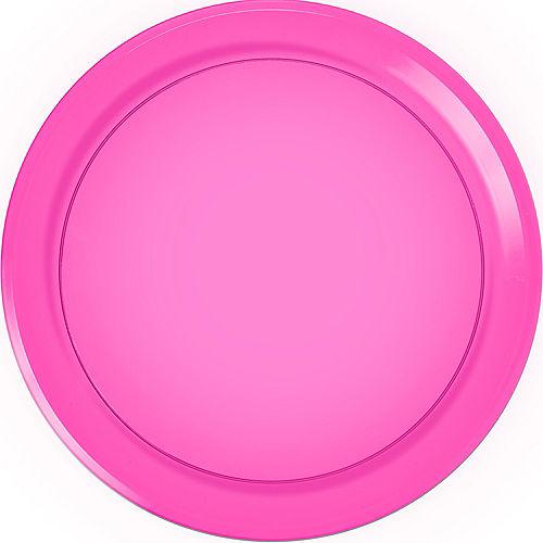 Bright Pink Plastic Round Platter Image #1