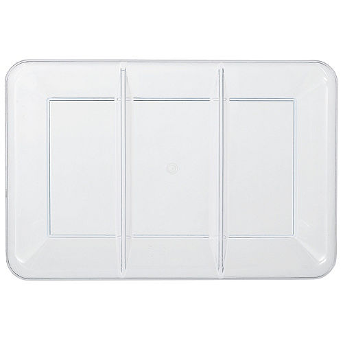 CLEAR Rectangular Sectional Plastic Platter, 9.5in x 14in Image #1