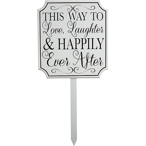 White Happily Ever After Wedding Yard Stake Image #1