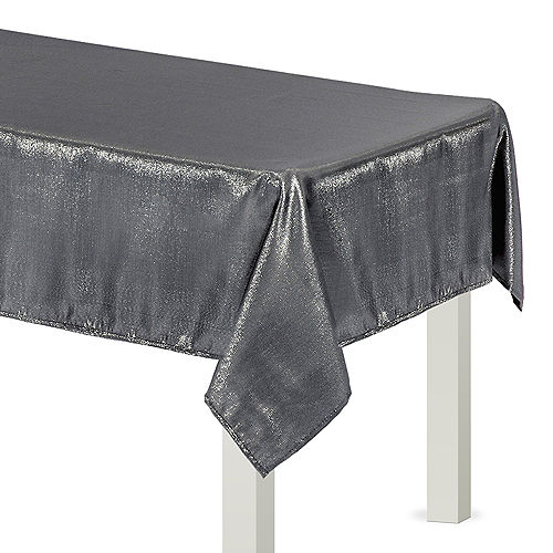 Metallic Silver Fabric Tablecloth Image #1